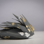 Zermatt pillbox hat with metallic leaf