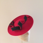 Moon Dish Hat in red with black bead Hostie Hats
