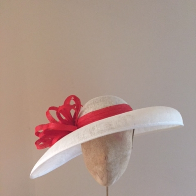 hat base: ivory band and loops: blood orange