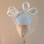 Longleat hat with veil in polar blue and ivory