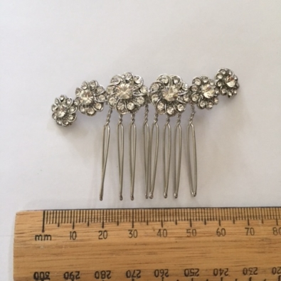 The Susan wave shaped diamante flowers on silver comb by Hostie Hats