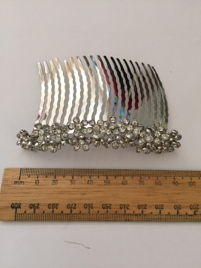 Gilly Hair Comb Delicate diamante flower heads on a silver slide by Hostie Hats