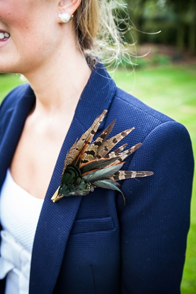 Pheasant and green feather brooch