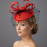 Lake Pillbox hat with veil by Hostie Hats