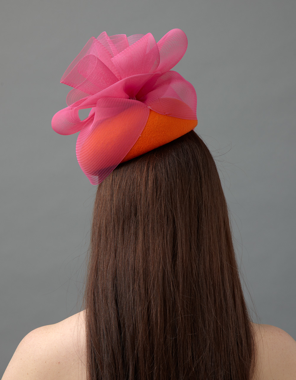Caraway pillbox hat back view hostie hats
