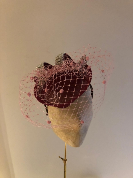 Wine sweetheart base with fro straw veiling and crystal curl