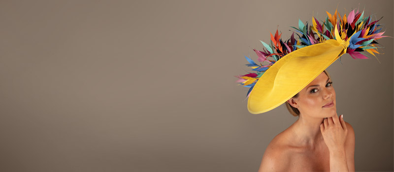 yellow feather headband fascinator millinery hair piece Bridal ascot wedding hat