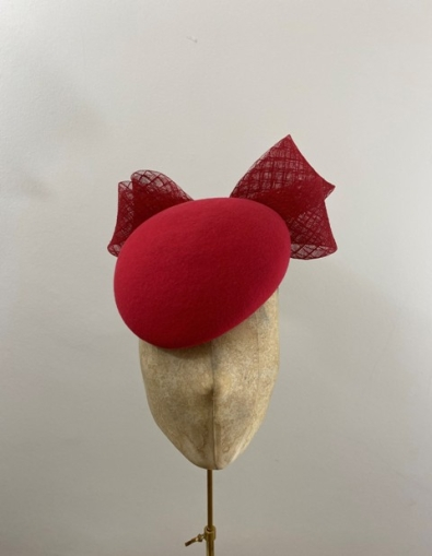Ready to wear red vino pillbox hat