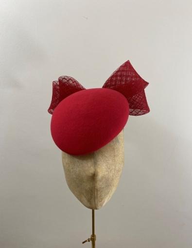 Ready to wear red vino pillbox hat